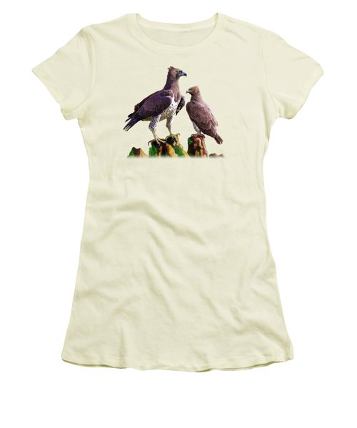 Martial Eagles Women's T-Shirt (Junior Cut) by Anthony Mwangi