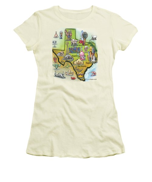 Texas Cartoon Map Women's T-Shirt (Athletic Fit)