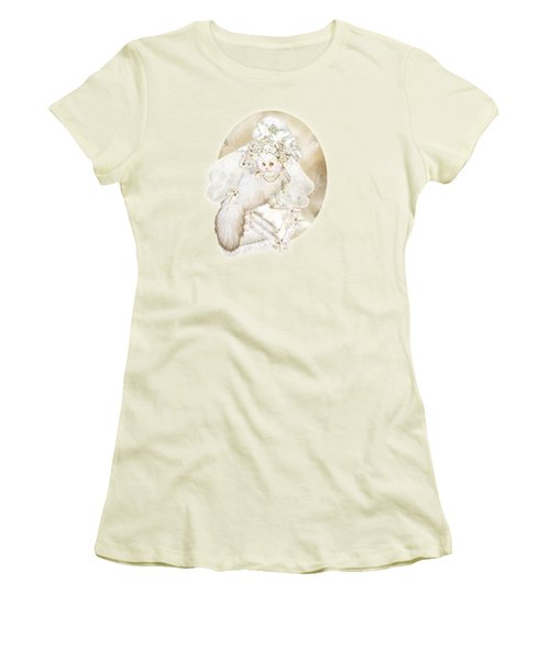 Cat In Fancy Bridal Hat Women's T-Shirt (Junior Cut) by Carol Cavalaris