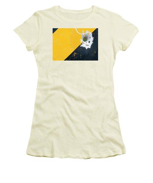Bullet Hole On The Yellow Black Line Women's T-Shirt (Junior Cut) by Bill Kesler