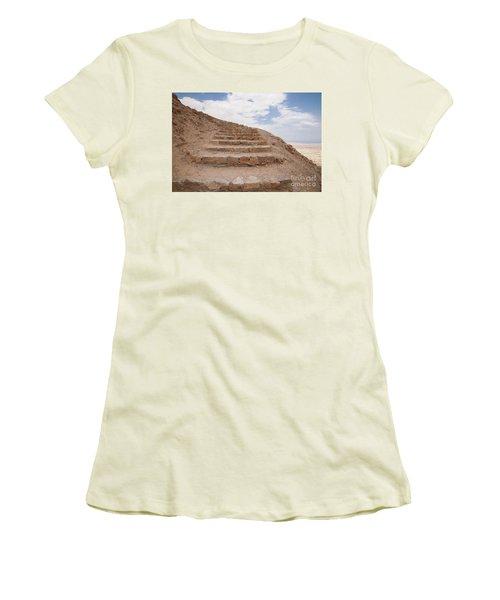 Women's T-Shirt (Junior Cut) featuring the photograph Stairway To Heaven - Masada, Judean Desert, Israel by Yoel Koskas