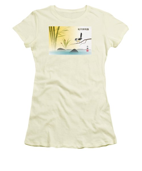 Asian Art Chickadee Landscape Women's T-Shirt (Athletic Fit)