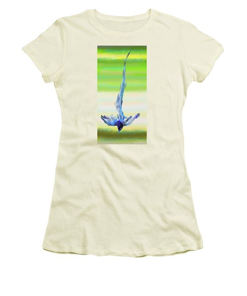 Women's T-Shirt (Athletic Fit) featuring the digital art Asian Paradise Flycatcher by Iowan Stone-Flowers