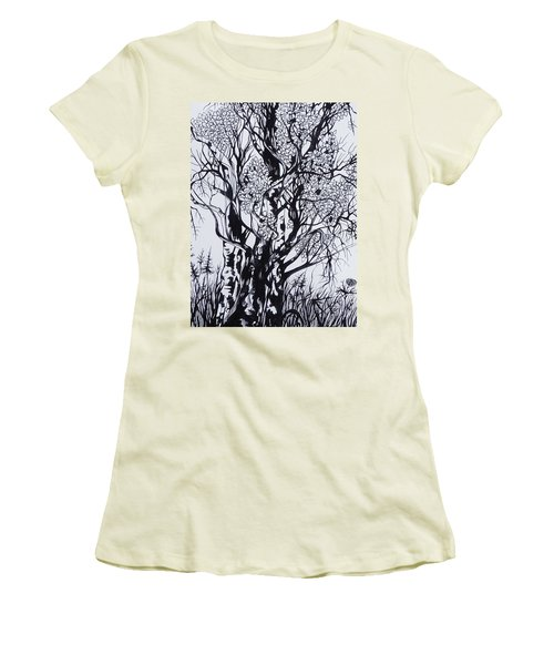 Women's T-Shirt (Junior Cut) featuring the drawing Aspens by Anna  Duyunova