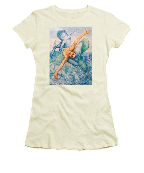Astrology Zodiac Signs Pisces Women's T-Shirt (Junior Cut) by Kent Chua