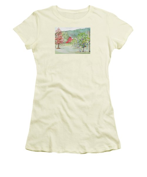 At The Winery Women's T-Shirt (Junior Cut) by Christine Lathrop