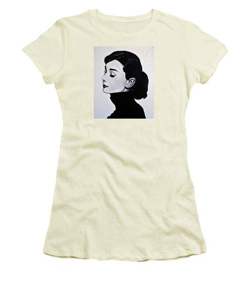 Audrey Hepburn 1 Women's T-Shirt (Junior Cut) by Brian Broadway