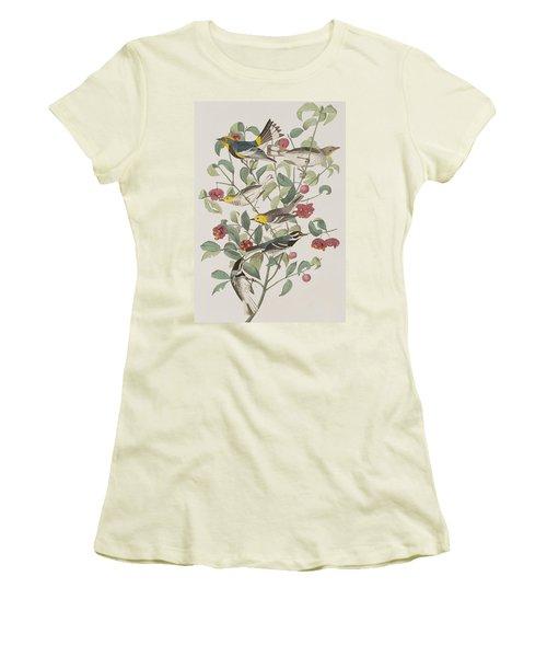 Audubons Warbler Hermit Warbler Black-throated Gray Warbler Women's T-Shirt (Athletic Fit)