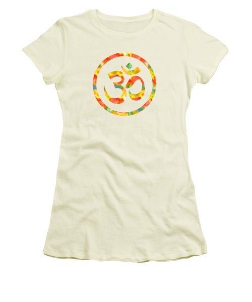 Women's T-Shirt (Junior Cut) featuring the painting Aum Symbol Abstract Digital Painting by Georgeta Blanaru