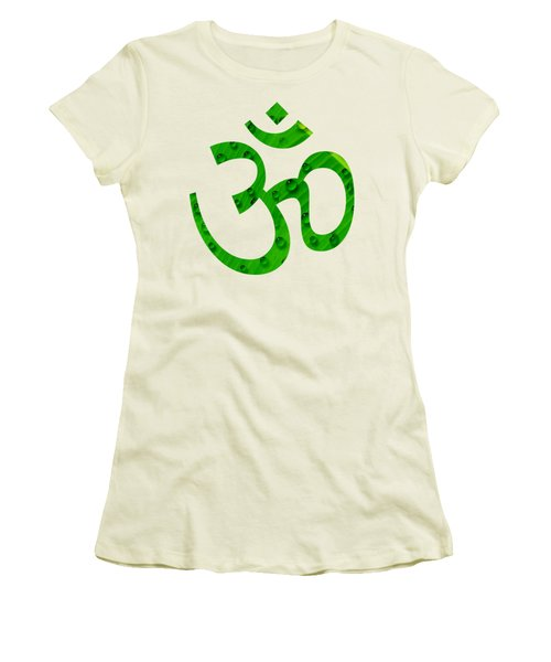 Women's T-Shirt (Junior Cut) featuring the painting Aum Symbol Digital Painting by Georgeta Blanaru