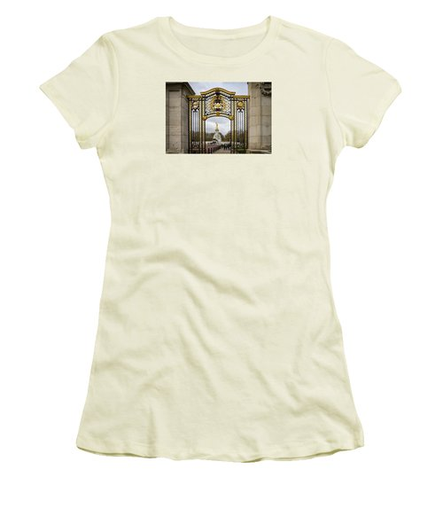 Women's T-Shirt (Junior Cut) featuring the photograph Australia Gate Towards Queen Victoria's Statue by Shirley Mitchell
