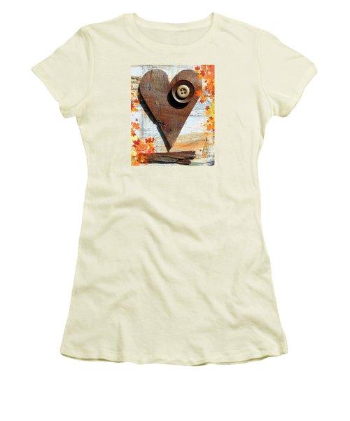 Autumn Heart Women's T-Shirt (Junior Cut) by France Laliberte