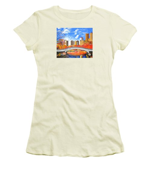 Women's T-Shirt (Junior Cut) featuring the painting Autumn Oasis by Donna Blossom