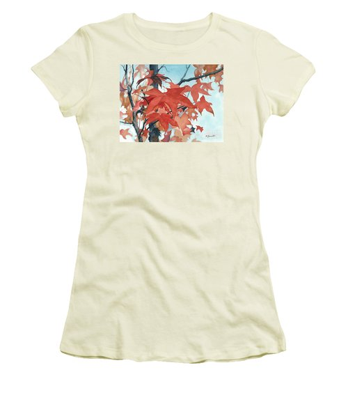 Women's T-Shirt (Junior Cut) featuring the painting Autumn's Artistry by Barbara Jewell