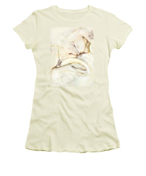 Women's T-Shirt (Junior Cut) featuring the drawing Award Winning Abstract Nude by Kerryn Madsen-Pietsch