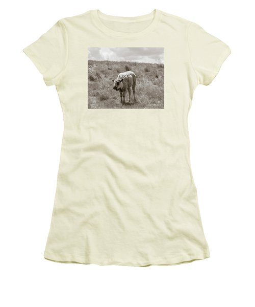 Women's T-Shirt (Junior Cut) featuring the photograph Baby Buffalo In Field With Sky by Rebecca Margraf