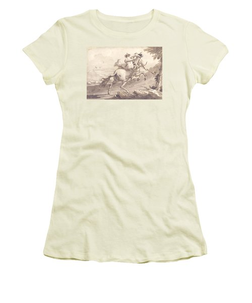 Back View Of A Centaur Abducting A Satyress Women's T-Shirt (Athletic Fit)