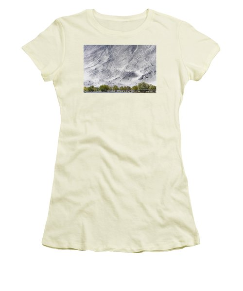 Women's T-Shirt (Athletic Fit) featuring the photograph Backdrop Of Sand, Chumathang, 2006 by Hitendra SINKAR