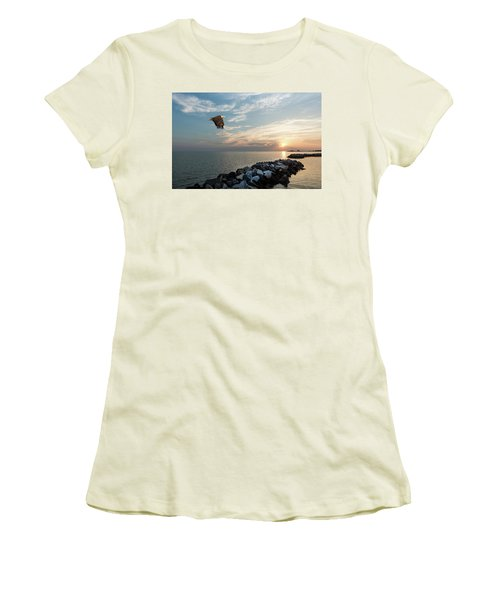 Bald Eagle Flying Over A Jetty At Sunset Women's T-Shirt (Athletic Fit)
