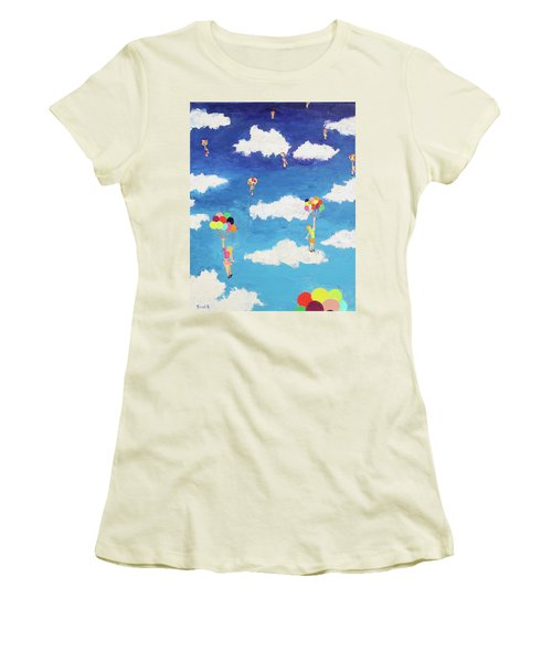 Women's T-Shirt (Junior Cut) featuring the painting Balloon Girls by Thomas Blood