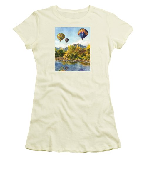 Balloons At Twin Lakes Women's T-Shirt (Junior Cut) by Anne Gifford