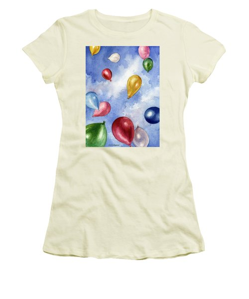 Balloons In Flight Women's T-Shirt (Junior Cut) by Anne Gifford