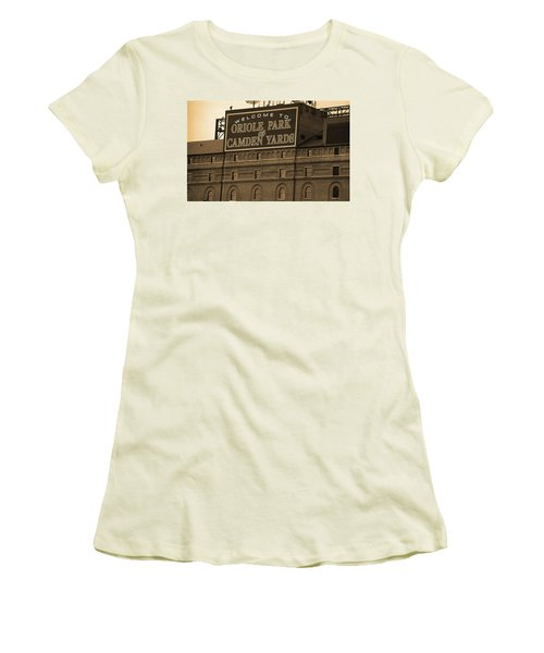 Baltimore Orioles Park At Camden Yards Sepia Women's T-Shirt (Athletic Fit)