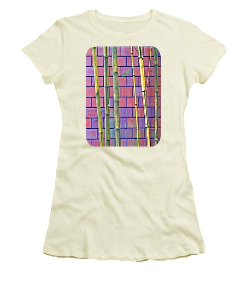 Women's T-Shirt (Junior Cut) featuring the photograph Bamboo And Brick by Ethna Gillespie
