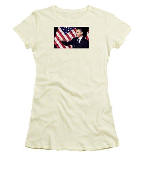 Barack Obama Women's T-Shirt (Junior Cut) by Iguanna Espinosa