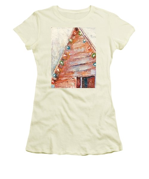 Barn In Snow Women's T-Shirt (Athletic Fit)