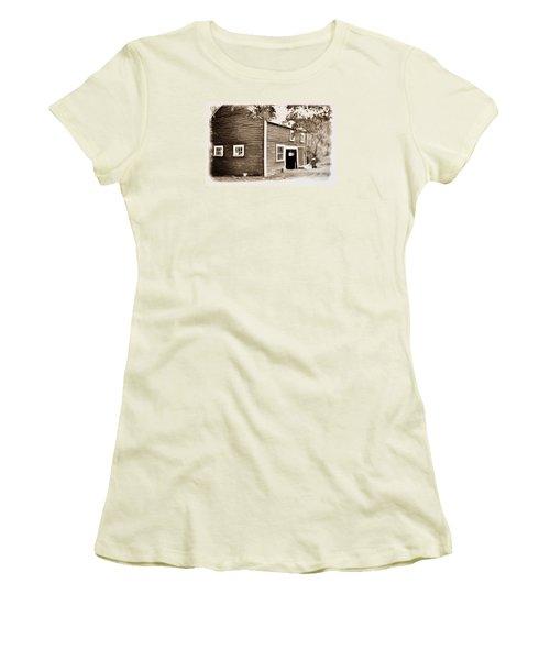 Barn In The Woods Women's T-Shirt (Junior Cut) by Rena Trepanier