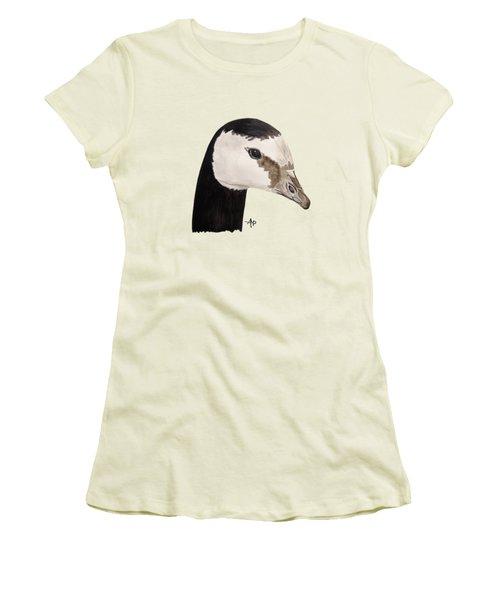 Barnacle Goose Portrait Women's T-Shirt (Junior Cut) by Angeles M Pomata