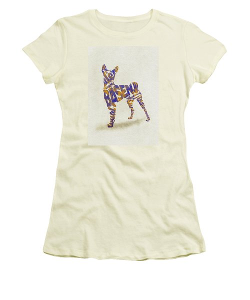 Women's T-Shirt (Athletic Fit) featuring the painting Basenji Dog Watercolor Painting / Typographic Art by Inspirowl Design