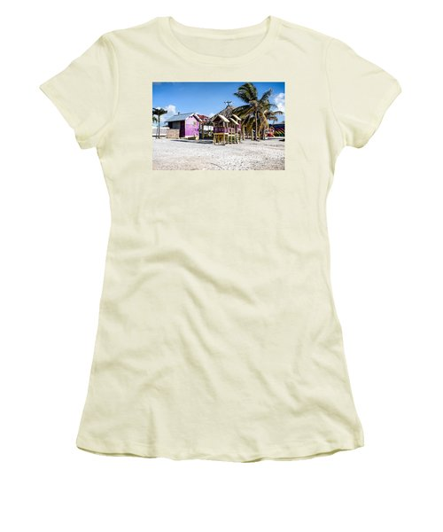 Women's T-Shirt (Junior Cut) featuring the photograph Beach Huts by Lawrence Burry