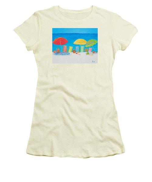 Beach Painting - Deck Chairs Women's T-Shirt (Junior Cut) by Jan Matson