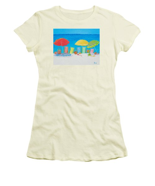 Beach Painting - Deck Chairs Women's T-Shirt (Athletic Fit)