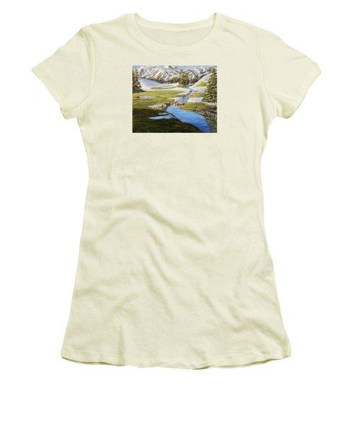 Bear Crossing Women's T-Shirt (Junior Cut) by Ruanna Sion Shadd a'Dann'l Yoder