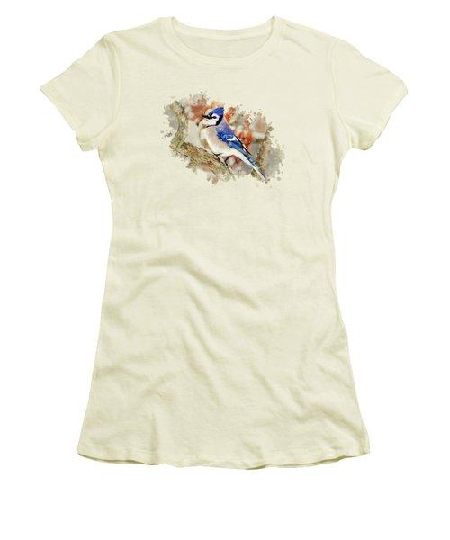 Beautiful Blue Jay - Watercolor Art Women's T-Shirt (Junior Cut) by Christina Rollo