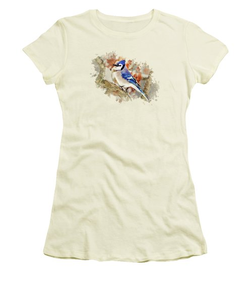 Beautiful Blue Jay - Watercolor Art Women's T-Shirt (Athletic Fit)
