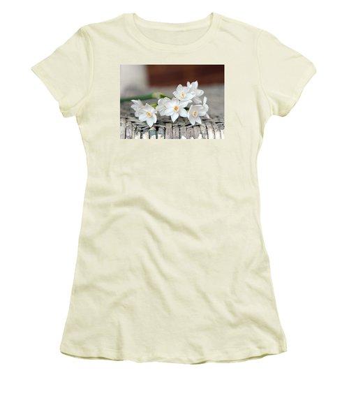 Beautiful Spring Paperwhites Women's T-Shirt (Junior Cut) by Carla Parris