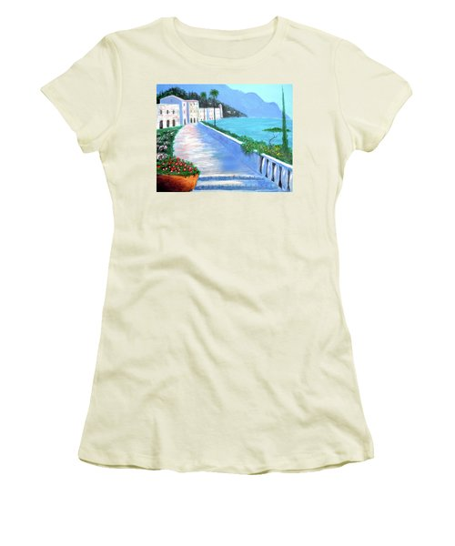 Women's T-Shirt (Junior Cut) featuring the painting Beauty Of The Riviera by Larry Cirigliano