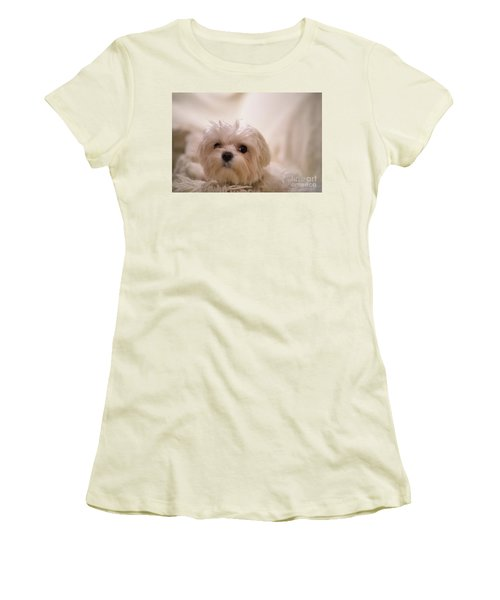 Women's T-Shirt (Athletic Fit) featuring the photograph Bed Headed Boy by Lois Bryan