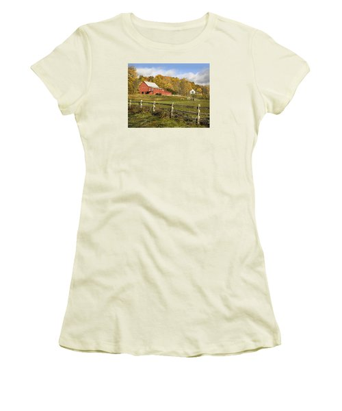 Women's T-Shirt (Junior Cut) featuring the photograph Bee Hive Farm, West Windsor, Vt by Betty Denise