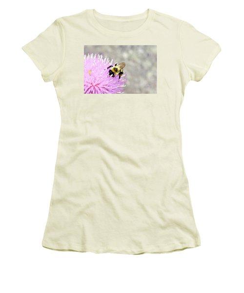 Women's T-Shirt (Junior Cut) featuring the photograph Bee On Pink Bull Thistle by Meta Gatschenberger