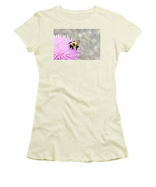 Bee On Pink Bull Thistle Women's T-Shirt (Athletic Fit)