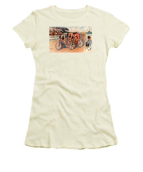 Bicycle Race 1895 Women's T-Shirt (Junior Cut) by Padre Art