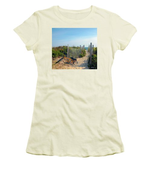 Women's T-Shirt (Junior Cut) featuring the photograph Bicycle Rest by Madeline Ellis
