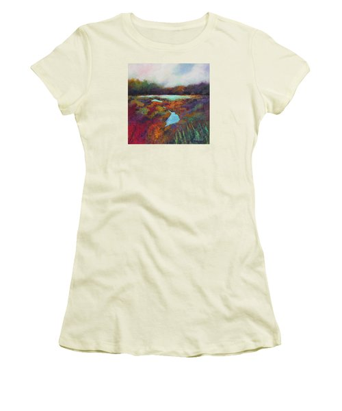 Women's T-Shirt (Junior Cut) featuring the painting Big Pond In Fall Mc Cormick Woods by Marti Green