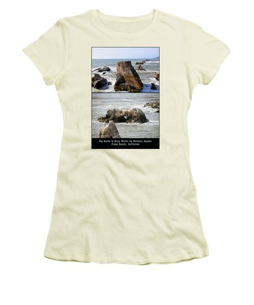 Women's T-Shirt (Junior Cut) featuring the photograph Big Rocks In Grey Water Duo by Barbara Snyder