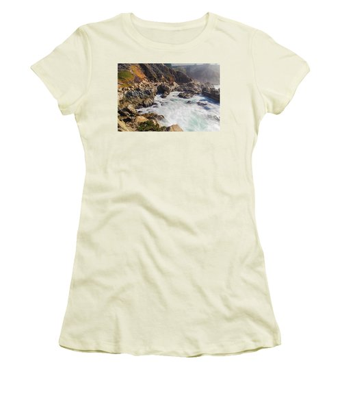 Women's T-Shirt (Athletic Fit) featuring the photograph Big Sur Coastline View Point by Jingjits Photography